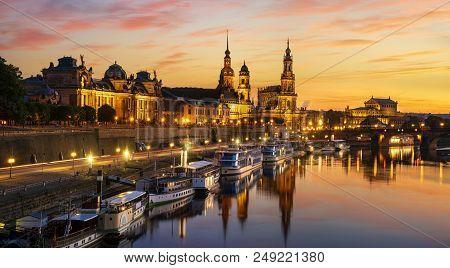 Dresden City Skyline At Elbe River ,dresden, Saxony, Germany