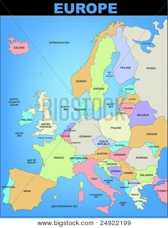 Illustrated detailed map of Europe in color