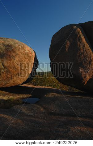 A View Between Two Large Boulders From Elephant Rocks State Park, In Southern Missouri.