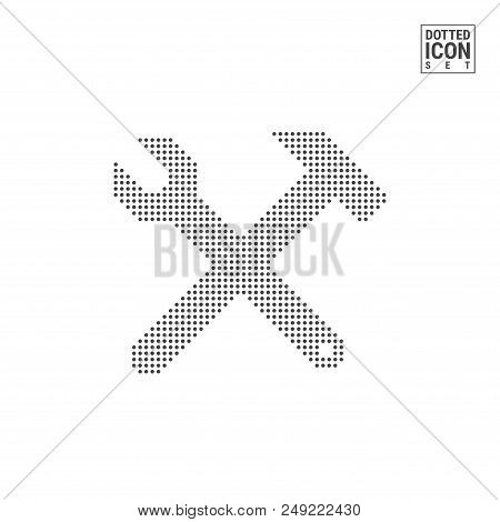 Hammer And Wrench Dot Pattern Icon. Hammer And Wrench Dotted Icon Isolated On White Background. Vect