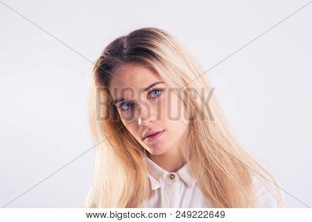 Young Pretty Lady Close-up Looking At Camera
