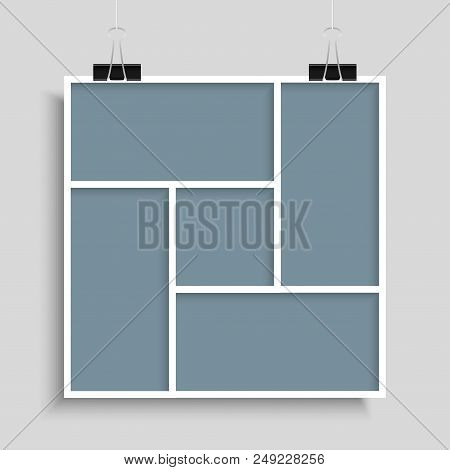Templates Collage Five Frames For Photo Or Illustration. Vector Frame For Photos, Pictures, Photo Co