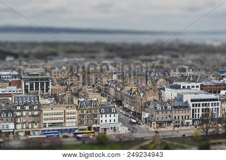 Cityscape Of Old Town Edinburgh With Classic Scottish Buildings On Princess Street Towards North Sea