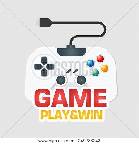 Game Play & Win White Joystick Icon Vector Image