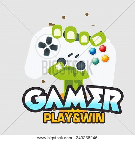Gamer Play & Win Fist Hand With Joystick Vector Image