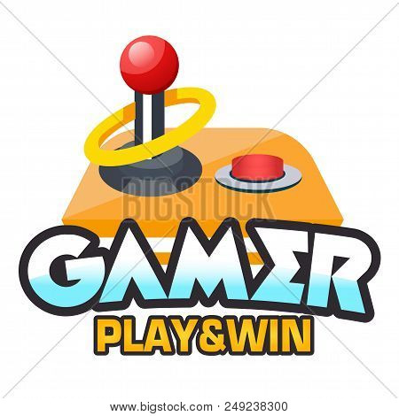 Gamer Play & Win Retro Joystick Background Vector Image