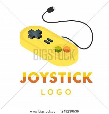 Joystick Logo Yellow Retro Joystick Vector Image