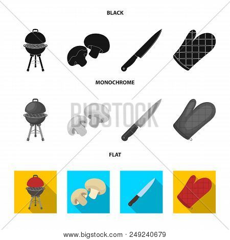 Barbeque Grill, Champignons, Knife, Barbecue Mitten.bbq Set Collection Icons In Black, Flat, Monochr