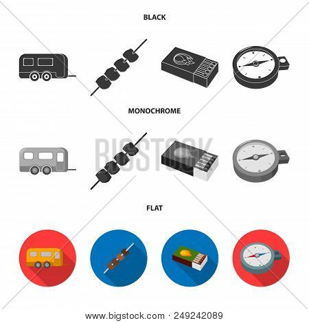 Trailer, Shish Kebab, Matches, Compass. Camping Set Collection Icons In Black, Flat, Monochrome Styl