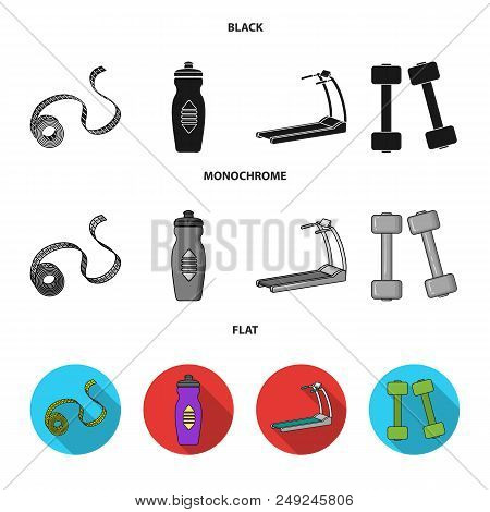 Measuring Tape, Water Bottle, Treadmill, Dumbbells. Fitnes Set Collection Icons In Black, Flat, Mono