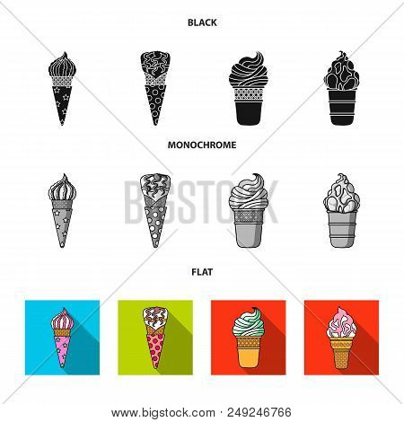 Ice Cream On A Stick, In A Waffle Cone And Other Species. Ice Cream Set Collection Icons In Black, F