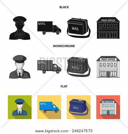 The postman in uniform, mail machine, bag for correspondence, postal office.Mail and postman set collection icons in black, flat, monochrome style vector symbol stock illustration . poster