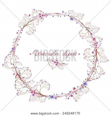 Watercolor Floral Rounded Wreath And Small Floral Bouquet. Clipart Consist Of Flowers, Leaves And Br