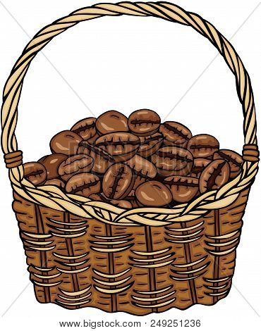 Scalable Vectorial Representing A Basket Full With Coffee Beans, Element For Design, Illustration Is