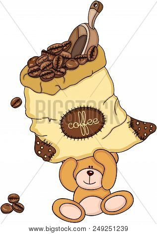Scalable Vectorial Representing A Teddy Bear Holding A Bag Of Coffee Beans And Scoop, Element For De