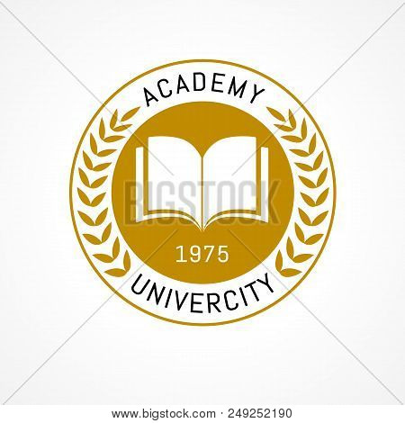 University Education Logo Design With Open Book And Laurel Branch. University Or College Is Golden W