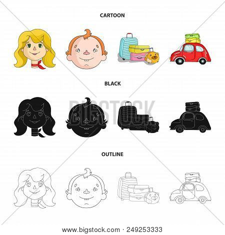 Camping, Woman, Boy, Bag .family Holiday Set Collection Icons In Cartoon, Black, Outline Style Vecto