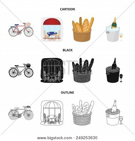 Bicycle, Transport, Vehicle, Cafe .france Country Set Collection Icons In Cartoon, Black, Outline St