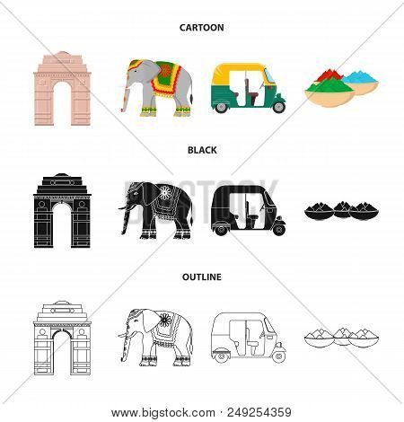 Country India Cartoon, Black, Outline Icons In Set Collection For Design.india And Landmark Vector S