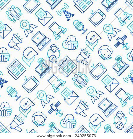 Communication Seamless Pattern With Thin Line Icons: E-mail, Newspaper, Letter, Chat, Tv, Support, V