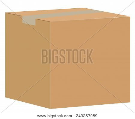 Brown Closed Carton Delivery Packaging Box Isolated On White Background. Paper Box Sign. Blank Cardb