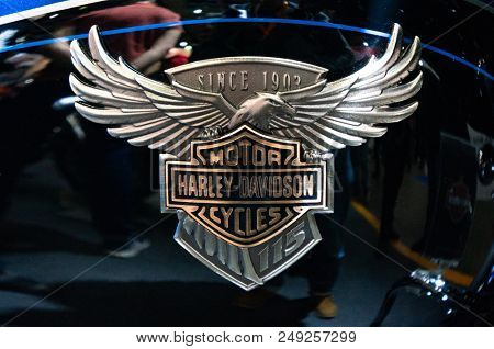 Moscow, Russia - March 17, 2018: Harley-Davidson motor company. Exhibition of motorcycles. The Harley-Davidson Motorcycle Element