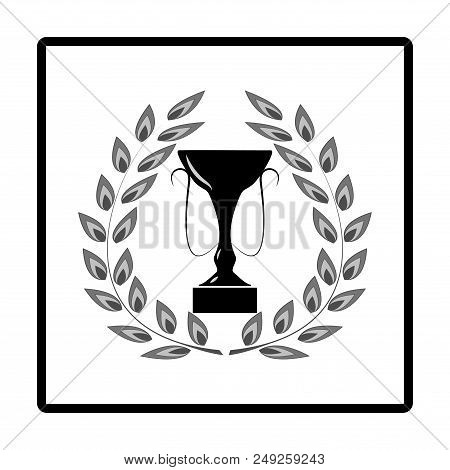 Laurel Award Around Cup In Sguare. Modern Symbol Of Victory, Award Achievement Sport. Insignia Cerem