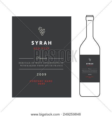 Red Wine Labels. Vector Premium Template Set. Clean And Modern Design. Syrah Grape Sort