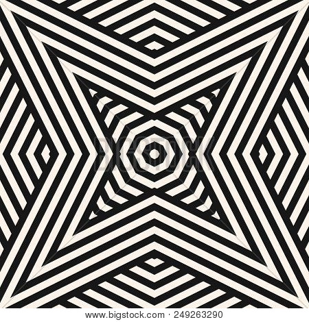 Black And White Geometric Lines Seamless Pattern. Stylish Modern Vector Linear Background. Abstract