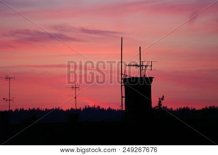 Sun Setting Over The Small Town Of Ronneby In Southern Sweden