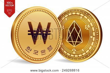 Eos. Won. 3d Isometric Physical Coins. Digital Currency. Korea Won Coin. Cryptocurrency. Golden Coin