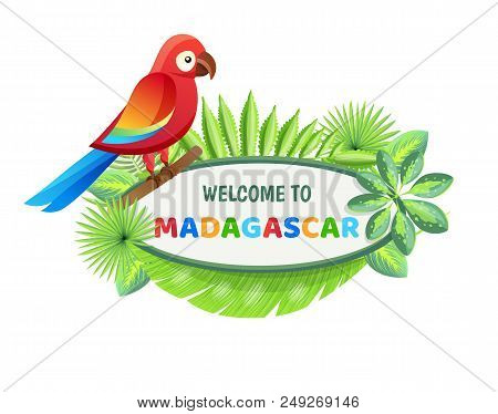 Welcome To Madagascar, Poster With Text Sample And Set Of Leaves Of Different Style, Welcome To Mada