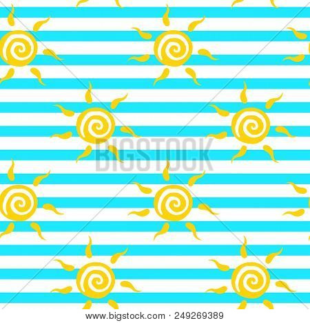 Vector Seamless Pattern With Yellow Sun With Ether Sign On Striped Backdrop. Cute Summer Background.