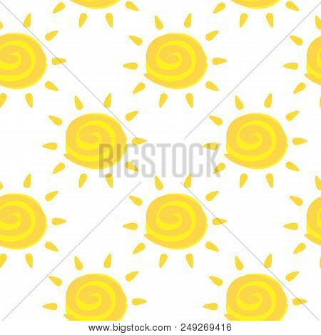 Vector Seamless Pattern With Yellow Sun With Ayurveda Ether Sign. Summer Background. Cute Colorful W