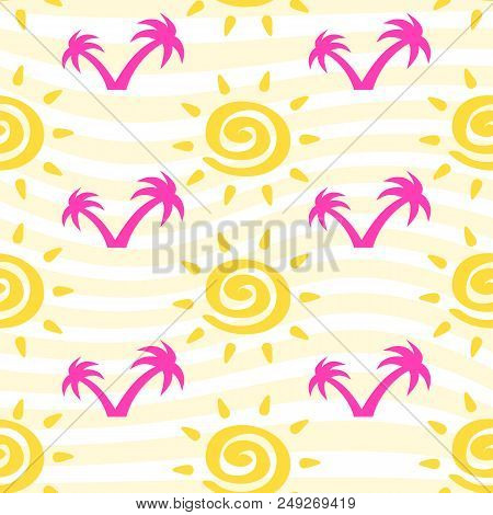 Vector Seamless Pattern With Sun With Ether Sign And Palm Trees On Striped Backdrop. Cute Summer Bac
