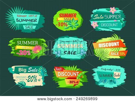 Collection Of Discount Emblems Off Summer Sale Advertisement Labels With Gentle Flowers, Promo Stick