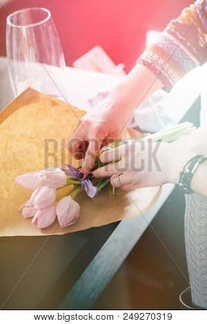 Florist Holding A White And Green Bouquet For The Bride. Job Florist. Florist Makes Gentle Spring We