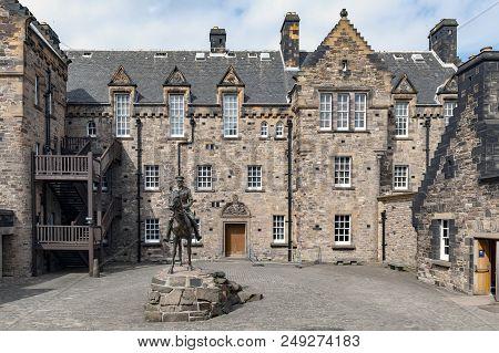 Edinburgh, Scotland - April 2018: The Imposing Equestrian Statue Of Field Marshal Earl Haig Situated