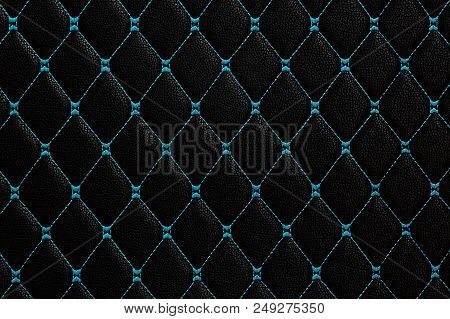Black Leather With Blue Stich, Black And Blue Leather Texture Background.
