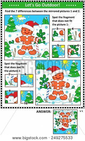 New Year Or Christmas Visual Puzzles With Ginger Man. Find The Differences Between The Mirrored Pict