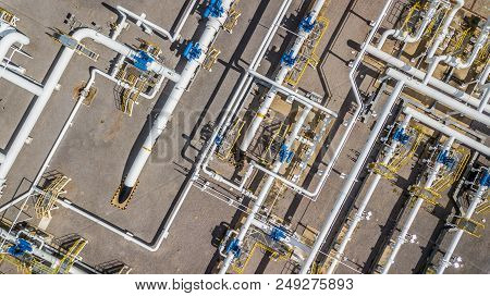Aerial Top View Natural Gas Pipeline, Gas Industry, Gas Transport System, Stop Valves And Appliances