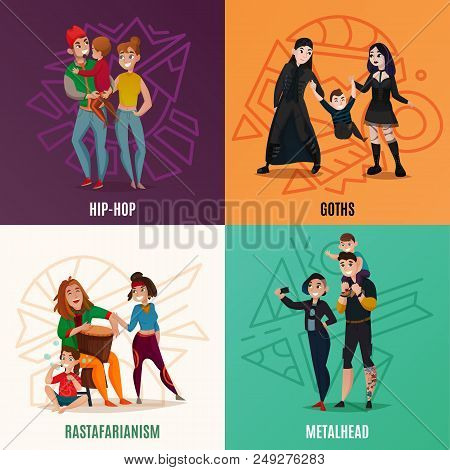 Subcultures Hip Hop, Goths,  Rastafarians, Metalheads, Family Couple With Child Cartoon Design Conce