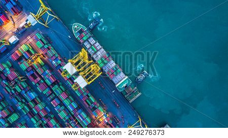 Aerial View Of Container Cargo Ship, Container Cargo Ship In Import Export Logistic, Logistics And T