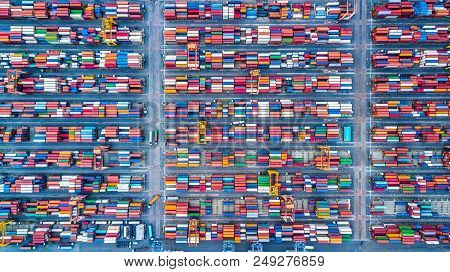 Aerial Top View Stack Of Freight Container In Rows, Container In Import Export Business And Logistic