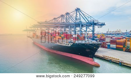 Container Cargo Ship, Business Import Export Logistic And Transportation Of International By Contain