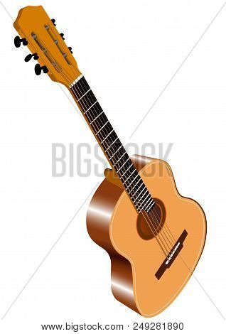 Color Image Of Six-string Acoustic Guitar - Vector Illustration