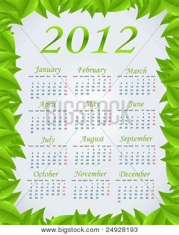 Vector green calendar