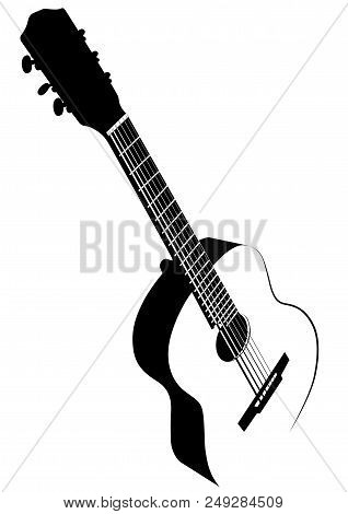 Black And White Image Of Six-string Acoustic Guitar - Vector Illustration