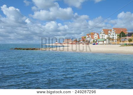 Beach And Village Of Laboe At Baltic Sea,schleswig-holstein,germany