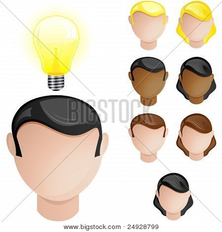 poster of Vector - People Heads with Creativity Light Bulb